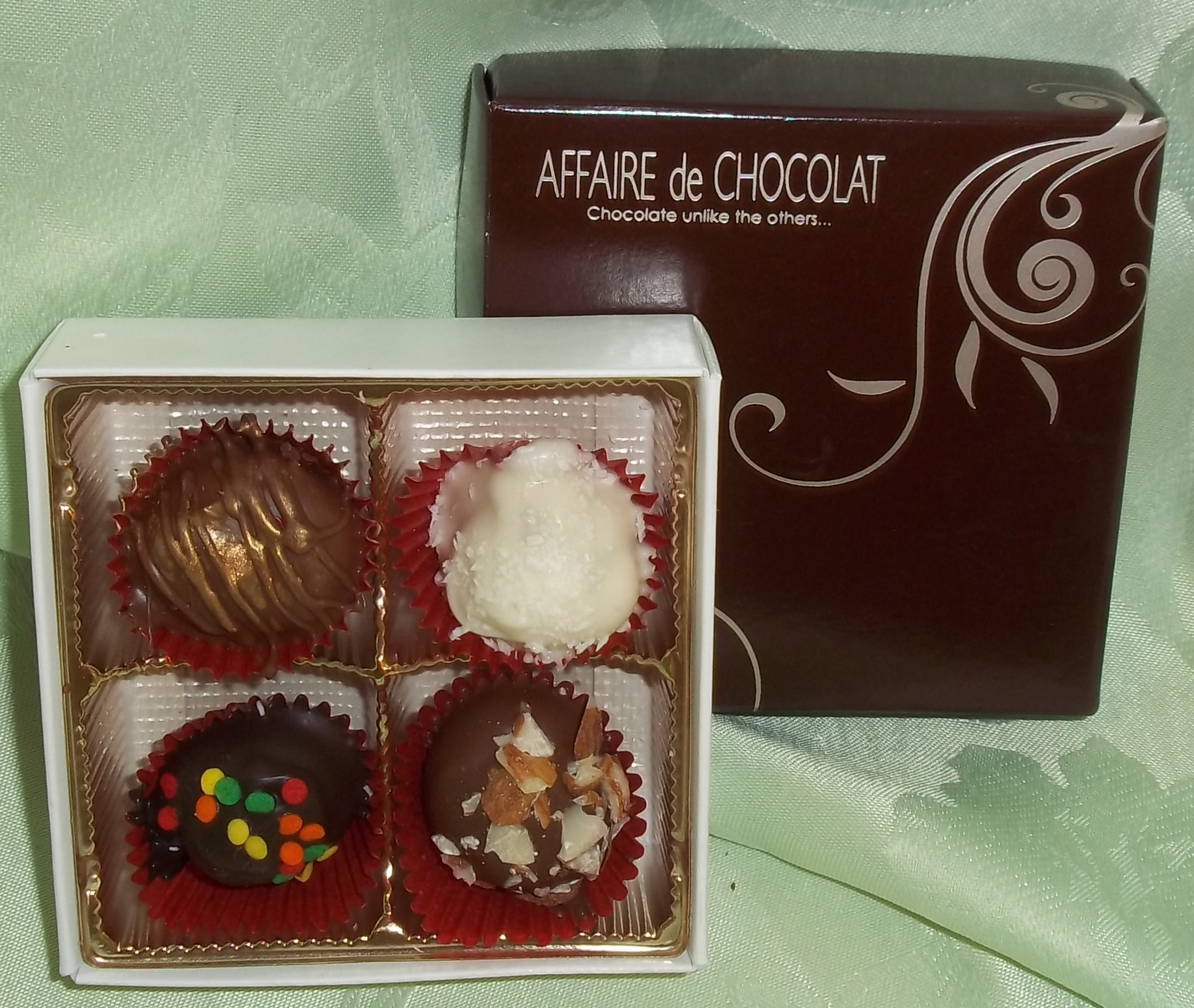 4 Piece Gourmet Truffles and Chocolates